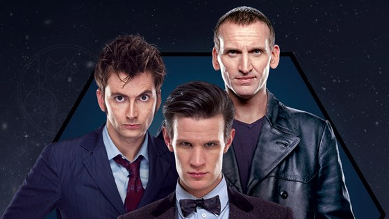 Left to right: David Tennant; Matt Smith; Christopher Eccleston.