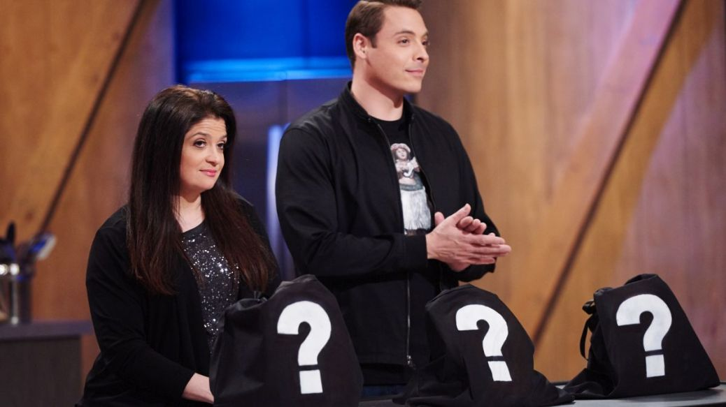 Judges Alex Guarnaschelli and Jeff Mauro during the reveal of the Star Salvation Challenge, Make a Dish Using Unusual Ingredients, as seen on Star Salvation for Food Network Star, Season 11.