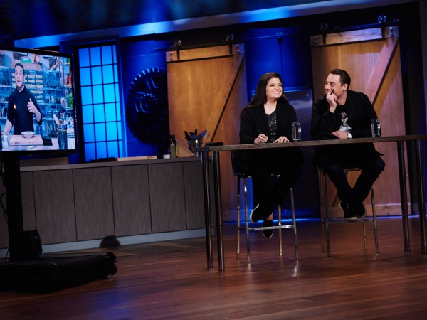 Judges Alex Guarnaschelli and Jeff Mauro during the Star Salvation Challenge, Make a Dish Using Unusual Ingredients, as seen on Star Salvation for Food Network Star, Season 11.