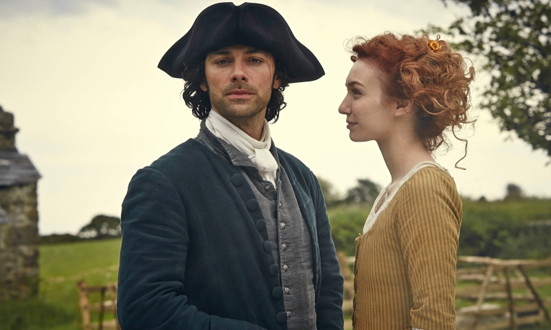 Nice head-samosa … Aidan Turner as Ross Poldark and Eleanor Tomlinson as Demelza. Photograph: Robert
