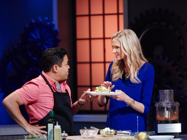 Finalist Arnold Myint and guest judge Catherine McCord, during the Mentor Challenge, Morning TV Segment, as seen on Food Network Star, Season 11.