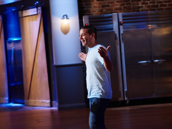 Former finalist Dom Tesoriero, during the reveal of the Cook For Your Life challenge, as seen on Food Network Star, Season 11.
