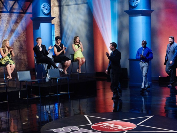 Finalists Dom Tesoriero, Eddie Jackson and Jay Ducote walk out onto set during the finale, as seen on Food Network Star, Season 11.