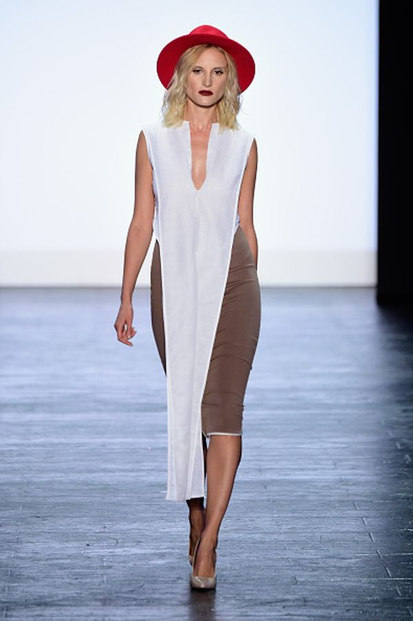 NEW YORK, NY - SEPTEMBER 11: A model walks the runway at the Project Runway fashion show during Spring 2016 New York Fashion Week: The Shows at The Arc, Skylight at Moynihan Station on September 11, 2015 in New York City. (Photo by Frazer Harrison/Getty Images for NYFW: The Shows)