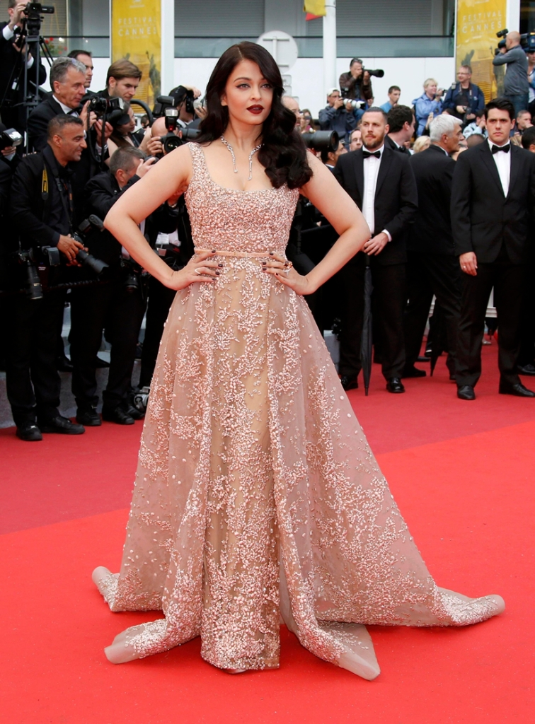 """Actress Aishwarya Rai  poses on red carpet as she arrives for the screening of the film  """"The BFG"""" (Le Bon Gros Geant) out of competition at the 69th Cannes Film Festival in Cannes"""