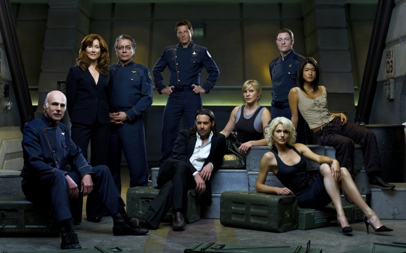 "BATTLESTAR GALACTICA -- Pictured: (l-r) Michael Hogan as Col. Saul Tigh, Mary McDonnell as Laura Roslin, Edward James Olmos as Commander William Adama, Jamie Bamber as Lee ""Apollo"" Adama, James Callis as Dr. Gauis Baltar, Katee Sackhoff as Kara ""Starbuck"" Thrace, Tahmoh Penikett as Karl ""Helo"" Agathon, Tricia Helfer as Number Six, Grace Park as Sharon ""Boomer"" Valerii -- SCI FI Channel Photo: Justin Stephens"
