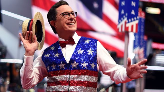 Comedian Stephen Colbert, host of 'The Late Show' tapes a segment for his show at the Quicken Loans Arena on July 17, 2016, ahead of the Republican National Convention in Cleveland, Ohio. / AFP / TIMOTHY A. CLARY        (Photo credit should read TIMOTHY A. CLARY/AFP/Getty Images)